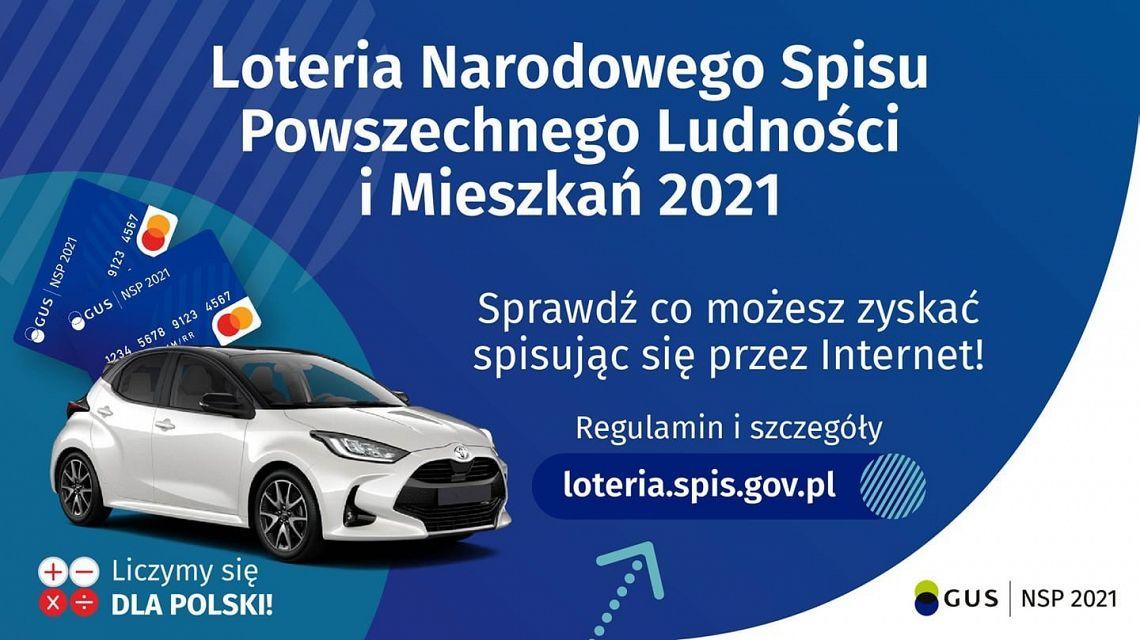 Plakat - Loteria narodowego Spisu Powszechnego Ludności i Mieszkań 2021. Regulamin i szczegóły loteria.spis.gov.pl